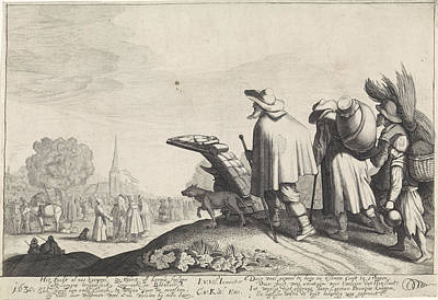 Bales Drawing - A Procession Of Tramps On The Way To The Market Or Fair by Jan Van De Velde (ii)