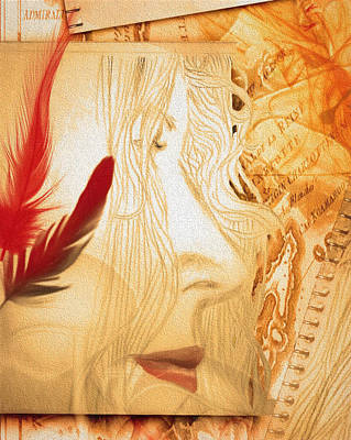 Self-portrait Mixed Media - A Profile With Red Feathers- Detail by Andrea Ribeiro