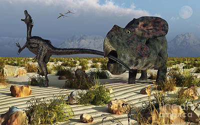 Two Tailed Digital Art - A Protoceratops Biting The Tail Of An by Mark Stevenson