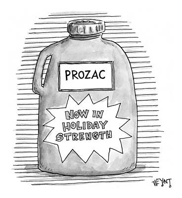 Labelled Drawing - A Prozac Bottle Of Pills Labeled 'now In Holiday by Christopher Weyant