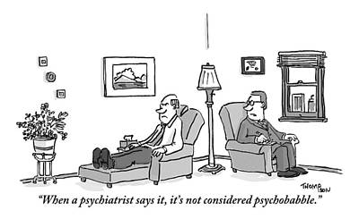 A Psychiatrist To His Patient Who Lies On A Couch Art Print