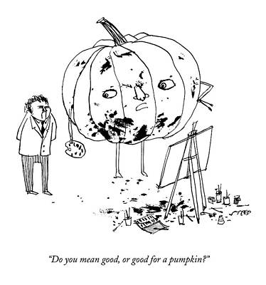 Edward-steed Drawing - A Pumpkin With A Face And Legs Holds A Paintbrush by Edward Steed