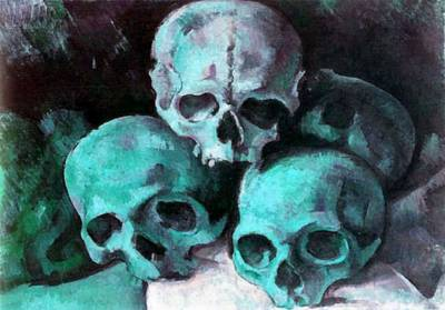 Painting - A Pyramid Of Skulls After Cezanne by Taiche Acrylic Art