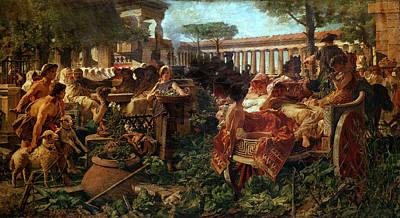 A Pythagorean School Invaded By Sybarites, 1887 Oil On Canvas Art Print by Michele Tedesco