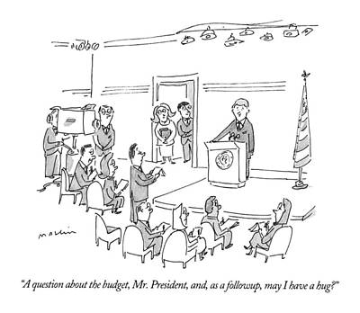 Bill Clinton Wall Art - Drawing - A Question About The Budget by Michael Maslin