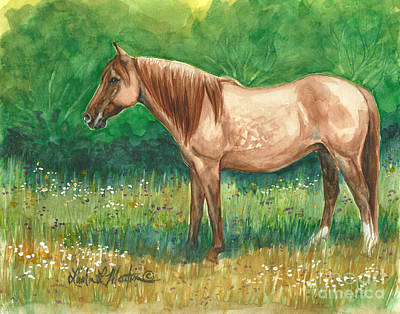 Red Dun Horse Painting - A Quiet Place by Linda L Martin