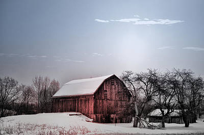 Barns Digital Art - A Quiet Winter Day by Bill Cannon