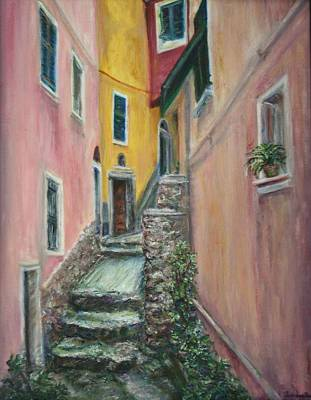 Narrative Painting - A Quite Place In Cinque Terre - Original Affordable Fine Art Oil Painting - Slice Of Life - Italy by Quin Sweetman