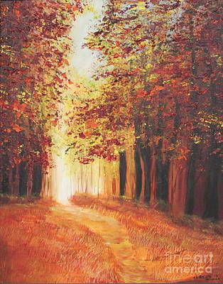 Art Print featuring the painting A Quite Walk by Christie Minalga