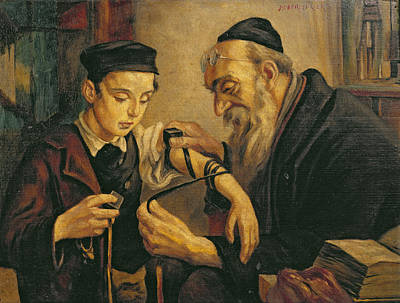 Torah Painting - A Rabbi Tying The Phylacteries by Jewish School