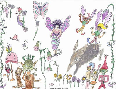 A Rabbit And Some Fairies Art Print by Helen Holden-Gladsky