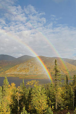 Dalton Highway Photograph - A Rainbow Arcs Over Autumn Colors by Hugh Rose