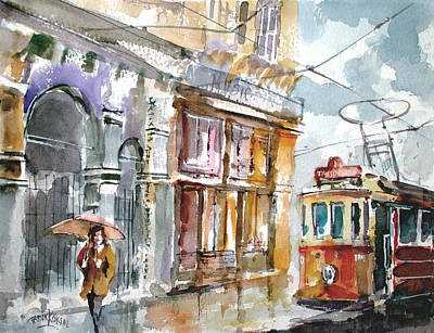 Tram Red Painting - A Rainy Day In Istanbul by Faruk Koksal