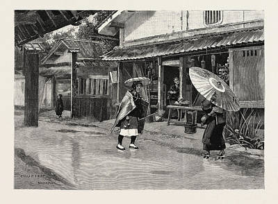 Rainy Day Drawing - A Rainy Day In Japan by Japanese School
