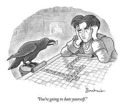 Raven Drawing - A Raven Is About To Add An N To The Word Evermore by David Borchart