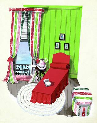 A Red Bed In A Bedroom Print by Edna Eicke
