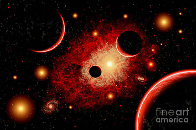Destruction Digital Art - A Red Giant Star System by Mark Stevenson