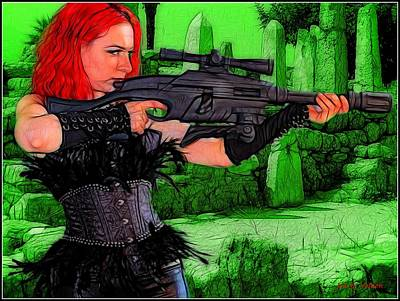 Painting - A Red Head With A Big Gun by Jon Volden
