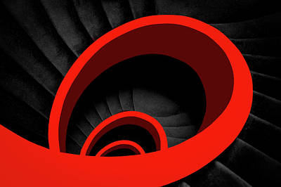 Spiral Wall Art - Photograph - A Red Spiral by Inge Schuster