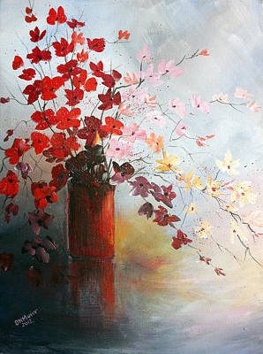 Art Print featuring the painting A Red Vase by Dorothy Maier
