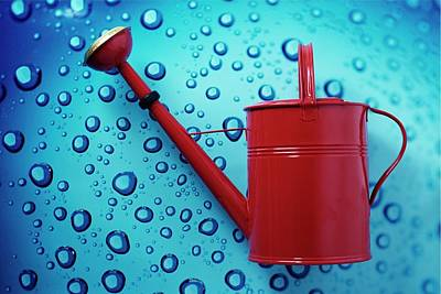 A Red Watering Can Art Print by Romulo Yanes