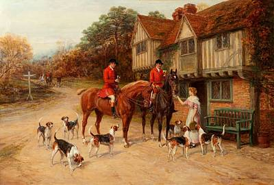 Huntsman Painting - A Refresher At The Dragon by Heywood Hardy