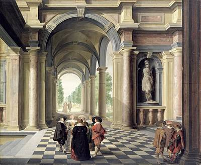 Discussions Photograph - A Renaissance Hall Oil On Board by Dirck van Delen