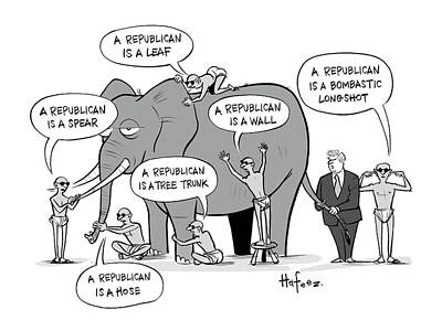 Wildlife Drawing - A Republican Is A Bombastic Longshot by Kaamran Hafeez