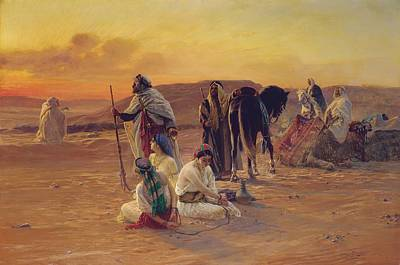 A Rest In The Desert Art Print by Otto Pilny