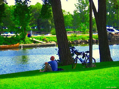Summer Along The Canal Painting - A Rest On A Summer Hill Overlooking The Lachine Canal Montreal Art Landscape Scenes Carole Spandau by Carole Spandau