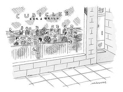 September 19th Drawing - A Restaurant Called Cubicles Bar & Grill Is Made by Mick Stevens