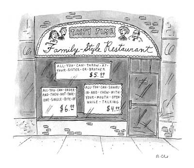 Storefront Drawing - A Restaurant With Various Signs by Roz Chast