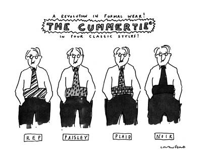 Fashion Show Drawing - A Revolution In Formal Wear! The Cummertie by Michael Crawford