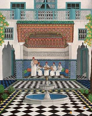 A Riad In Marrakech, 1992 Acrylic On Canvas Art Print by Larry Smart