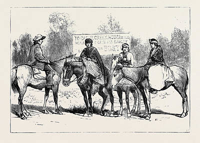 A Riding Party In British Columbia Art Print by English School