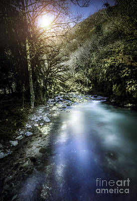 A River In A Forest At Sunset, Ritsa Art Print