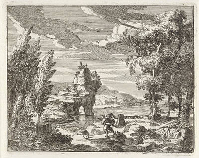 A River Landscape With Travelers, Anonymous Print by Anonymous