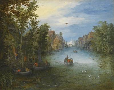 Rowing Painting - A River Running Through A Small Town by Celestial Images