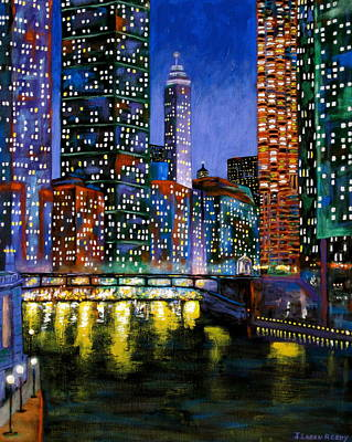 Chicago At Night Painting - A River Runs Through It by J Loren Reedy