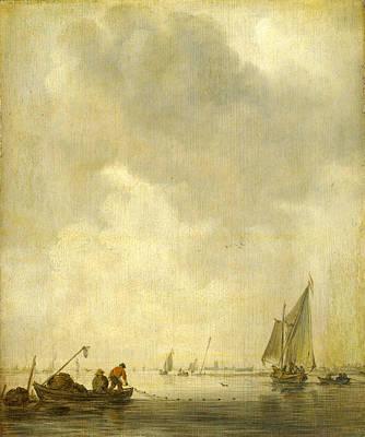 Net Painting - A River Scene With Fishermen Laying A Net by Jan van Goyen