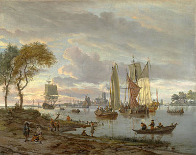 River View Painting - A River View by Abraham Storck
