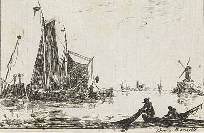 A River View With In The Foreground A Boat With Fishermen Print by Quint Lox