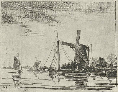 River View Drawing - A River View With Some Boats, In The Background A Mill by Artokoloro