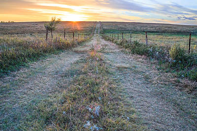 Prairie Sunset Wall Art - Photograph - A Road Less Traveled by Jill Van Doren Rolo