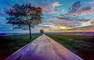 Photograph - A Road Reflecting The Evening Sky  by Martin Liebermann