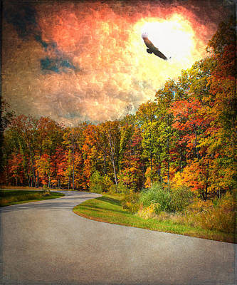 A Road Thru Nature Art Print by Bill Tiepelman