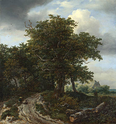 Painting - A Road Winding Between Trees Towards A Distant Cottage by Jacob Isaacksz van Ruisdael