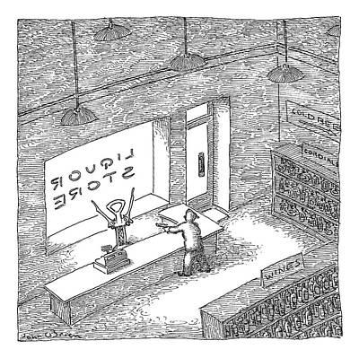 A Robber Holds Up A Liquor Store. The Clerk Art Print by John O'Brien