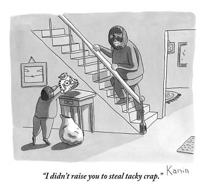 A Robber Talks To His Adolescent Robber Son Art Print by Zachary Kanin
