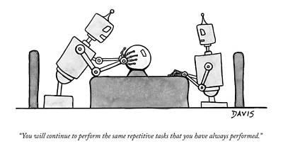 Mathew-stiles-davis Drawing - A Robot  Consults A Crystal Ball And Speaks by Mathew Stiles Davis